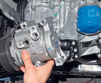 Снятие компрессора кондиционера Hyundai Solaris